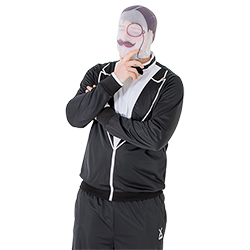 Male model in thinking pose whilst wearing the disguise mask