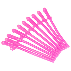 Ten hot pink willy straws laying on their side