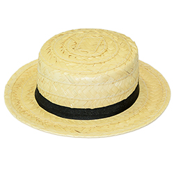 The straw boater hat against a white background