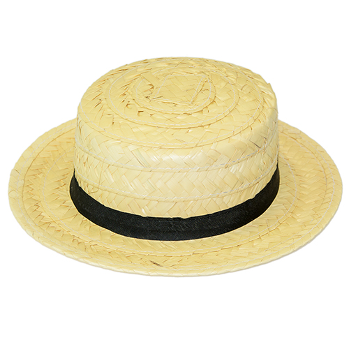 Straw Boaster Hat with black trim