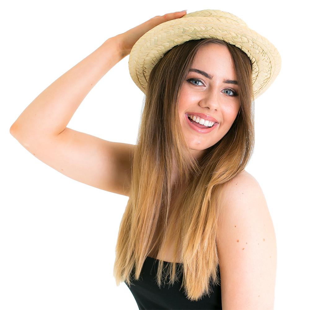 Model wearing Straw Boater Hat