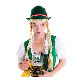 The Deluxe Bavarian Oktoberfest Hat and a giant beer stein