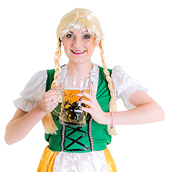 A Bavarian Beermaid posing with the giant beer stein