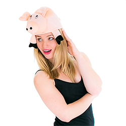 Pig hat side view close up