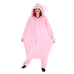 Pig costume showing model's face