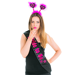 Model wearing the Black and Pink Hen Party Set and looking straight at the camera