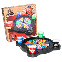 The wheel of misfortune game placed next to the packaging