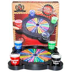 The wheel of misfortune game in front of the box