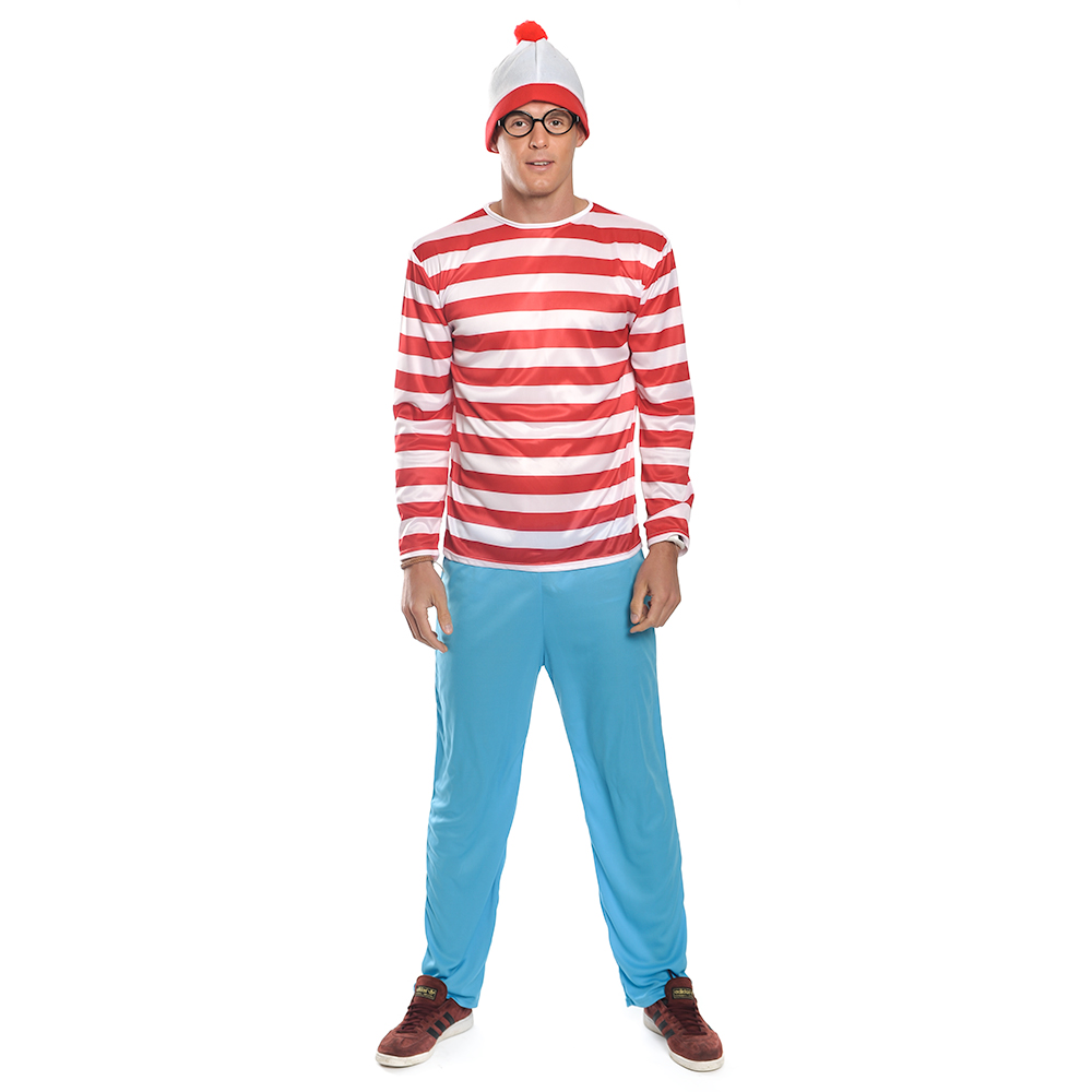 Official Wheres Wally Costume Includes Stripe T-Shirt, Hat & Blue Trousers