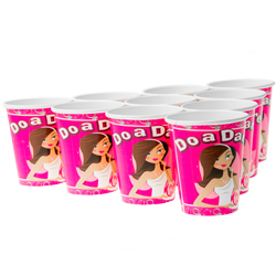 Nine hen party dare cups laid out in a triangle formation