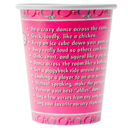 Close up of dares on bride to be party cup