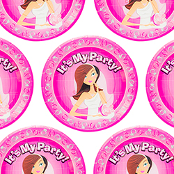Pink hen party paper plates tiled