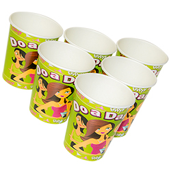 Six hen party dare cups displayed in triangular formation