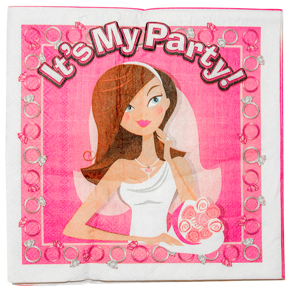 Close up of front of the hen party trivia napkin