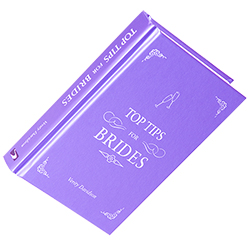 A close up of the sleeve and the front cover of the top tips for brides book