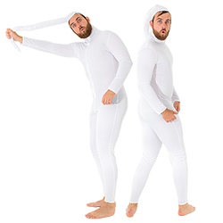 Sperm costume with model holding tail and sperm shocked