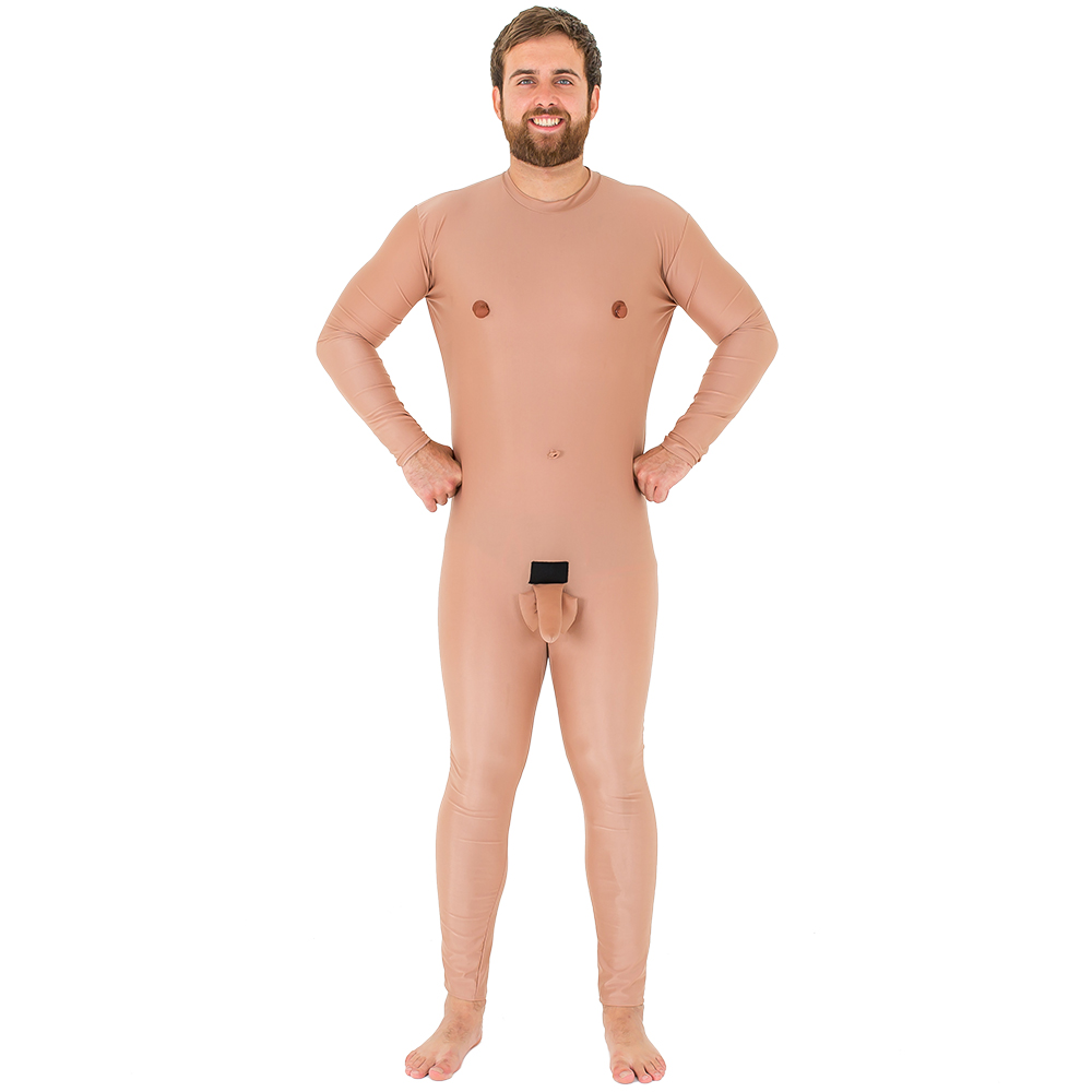 Crazy nude man stag do costume from the front