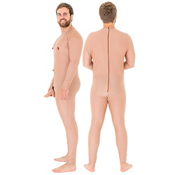 Crazy nude man stag do costume from the side and back
