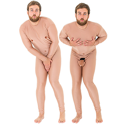 Crazy nude man stag do costume covering penis and nipples