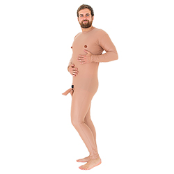 Crazy nude man stag do costume with model's hands on stomach