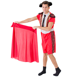 Male model wearing matador costume whilst holding red cape down