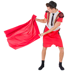 Male model wearing bullfighting costume holding red cape out to the side