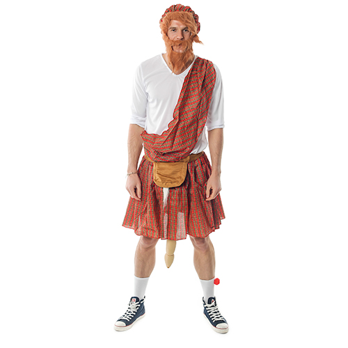 Well Hung Highlander Costume In Front Of White Background