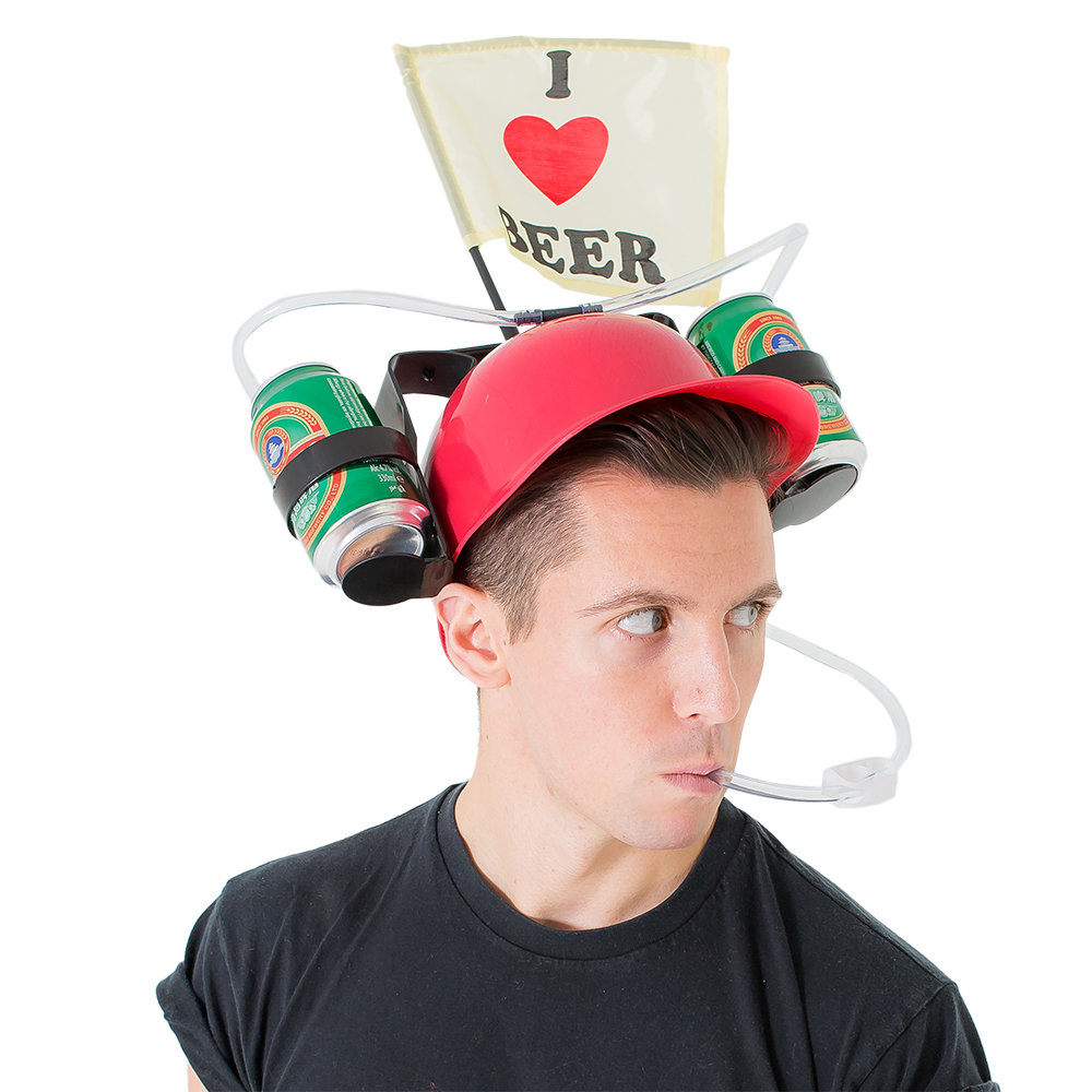 Model wearing and using beer drinking helmet