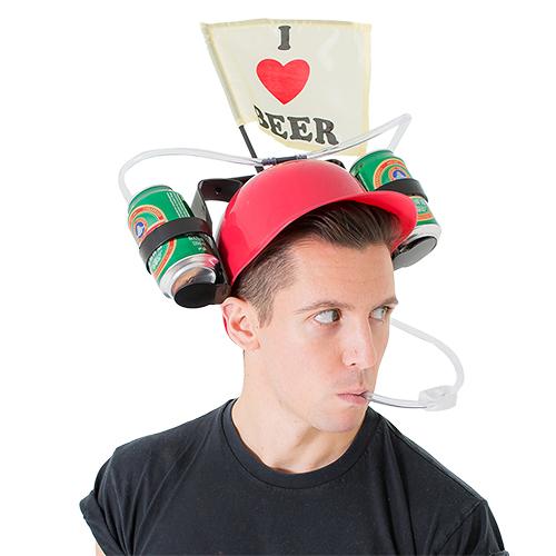 Model wearing and using beer drinking helmet