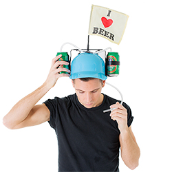 Male model wearing the drinking helmet with I love beer flat on top