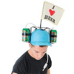 Male model looking down, wearing the drinking helmet