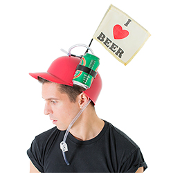 Male model wearing beer drinking helmet from a side angle