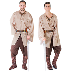 Two men in Jedi costumes and standing next to each other holding lightsabers