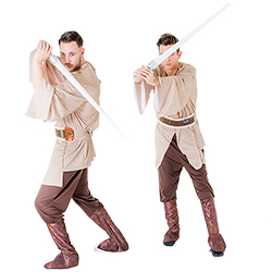 Two men dressed in Jedi costumes and holding lightsabers