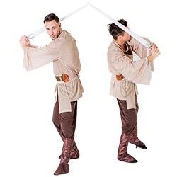 Two men wearing Jedi costumes and posing with lightsabers