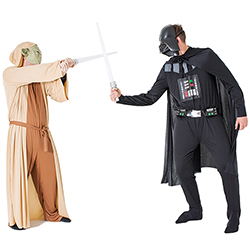 Yoda and Darth Vader crossing lightsabers in a fight