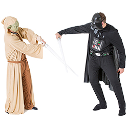 Yoda fighting Darth Vader with lightsabers
