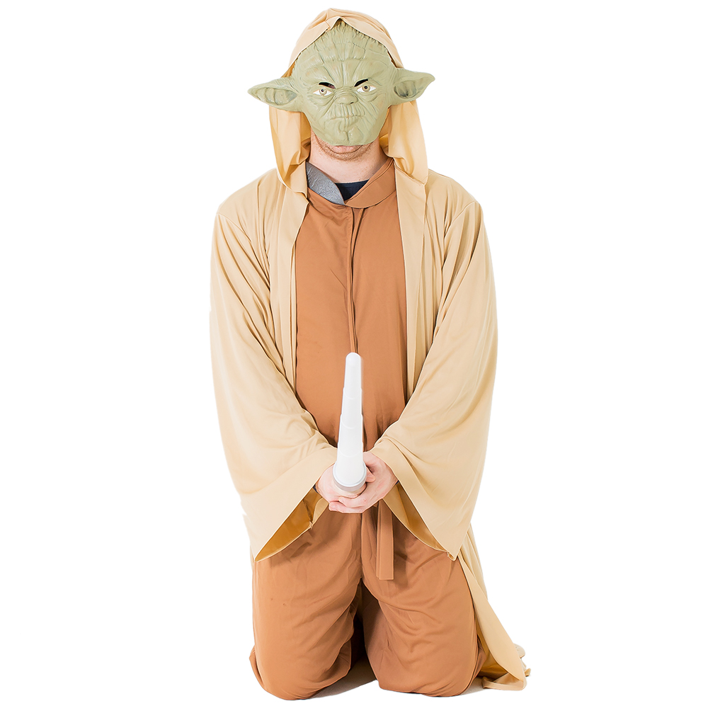 Yoda costume modeled with lightsaber