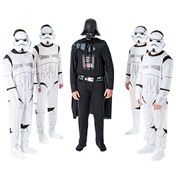 A man dressed as Darth Vader, stood with the stormtroopers