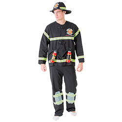 A male model wearing a fireman costume