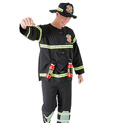 Close up of male model wearing a fireman