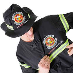 Close up of the fireman hat and jacket