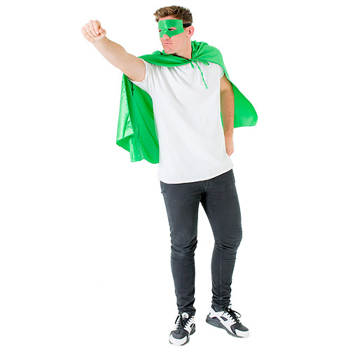 A male model posing in a green superhero cape and mask