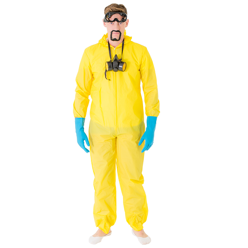Male model wearing the Meth Cook costume