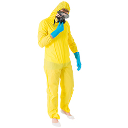 Full body image of male model wearing the Meth Cook costume