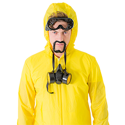 Close up of male model wearing the Meth Cook costume