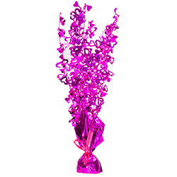 A purple balloon weigh centrepiece with hearts on