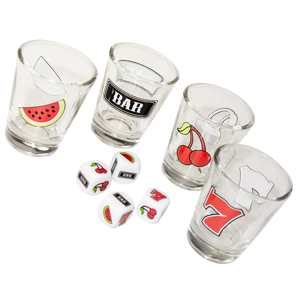Jackpot shot glasses and four dice with fruit machine symbols on