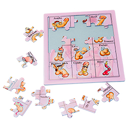 The unfinished willy jigsaw with pieces scattered around the side of the puzzle