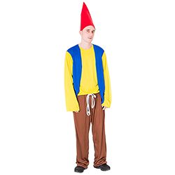 Serious male model dressed as gnome